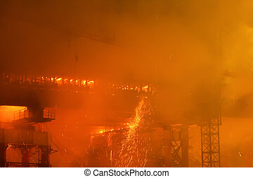 vuur, bruggenbouw, bouwterrein