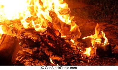 vuur, burning, met, selectieve nadruk