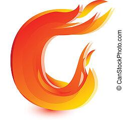 vuur, c, brief, beeld, ontwerp, vector