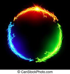 vuur, circle., draken
