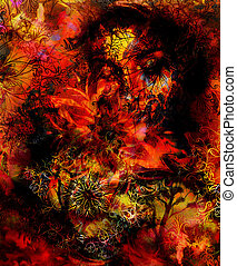 vuur, decoratief, kleur, abstract, color., sinaasappel, zwarte achtergrond, vlam, oosters, mandala, rood