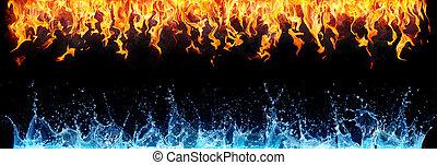 vuur, en, water, op, black , -, tegenoverstaand