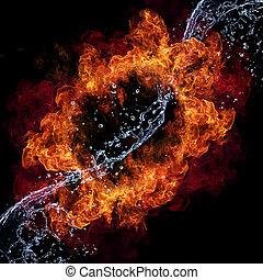 vuur, en, water