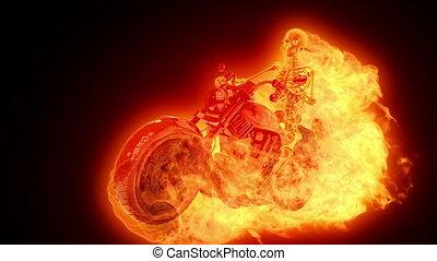 vuur, fietser, skelet