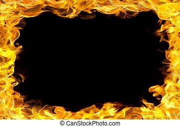 vuur, grens, met, vlammen