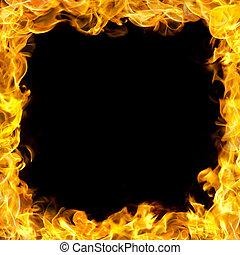 vuur, grens, vlammen