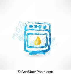 vuur, grunge, oven, pictogram