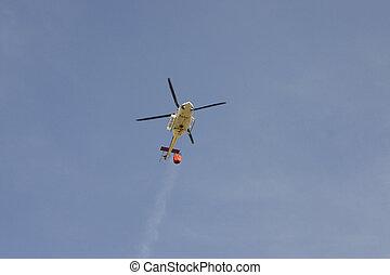 vuur, helikopter, redding