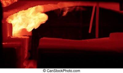vuur, in, de, blacksmit, oven