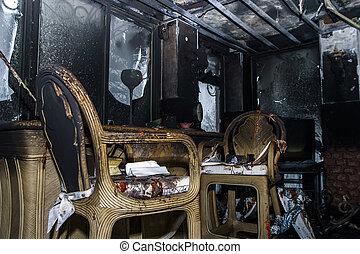 vuur, interieur, beschadigd, details