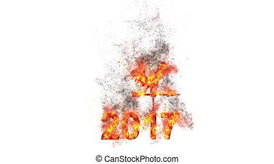 vuur, -, jaar, nieuw, 2017, haan