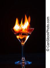 vuur, kleurrijke, coctail