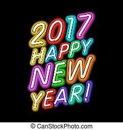 vuur, lights., neon, groet, meldingsbord, achtergrond., vector, figuren, rooster., jaar, nieuw, 2017, kaart, design.