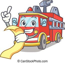 vuur, menu, vrachtwagen, spotprent, mascotte