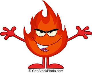 vuur, openen armen, kwaad