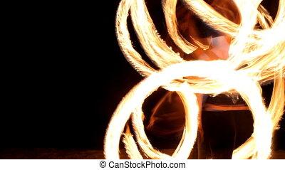 vuur, opvoering, vrouw, strand