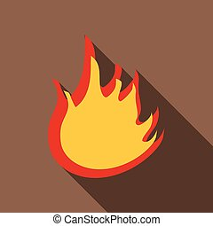 vuur, pictogram, stijl, plat