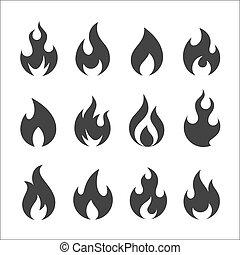 vuur, pictogram, vector, set