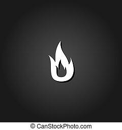 vuur, plat, pictogram