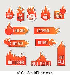 vuur, plat, set, verkoop, pictogram