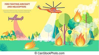 vuur, poster, vliegtuig, vecht, helikopter