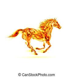 vuur, rennende , horse.