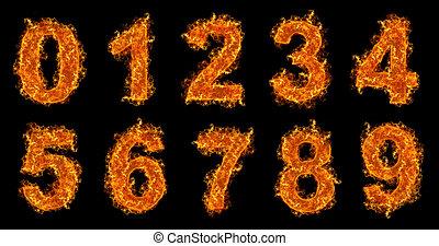 vuur, set, getallen