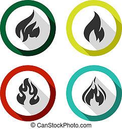 vuur, set, vlammen, iconen
