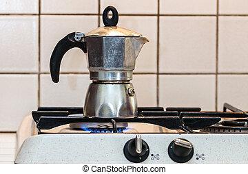 vuur, stijl, moka, italiaanse , koffie, classieke, gasfornuis, pot
