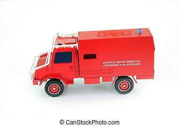 vuur, stuk speelgoed vrachtwagen