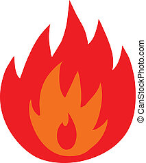 vuur, symbool, vrijstaand, vlammen