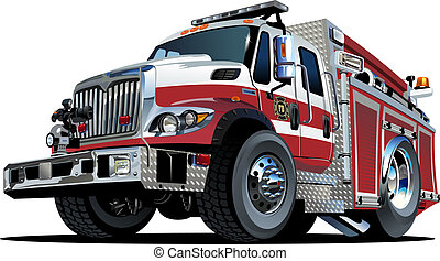 vuur, vector, vrachtwagen, spotprent