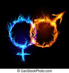 vuur, venus, symbols., mars