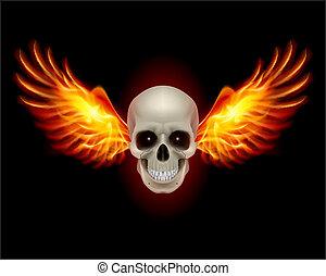 vuur, vleugels, schedel