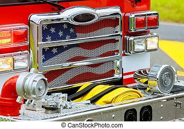 vuur, voorkant, station., vrachtwagen