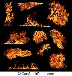 vuur, vrijstaand, verzameling, hoog, zwarte achtergrond, resolutie