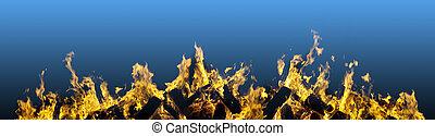 vuur, vurig, grens, brandend, vlammen
