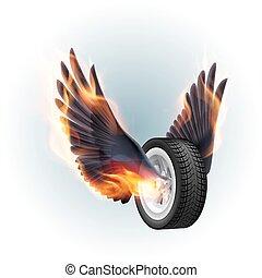 vuur, wiel, vleugels