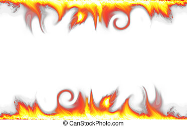 vuur, witte , grens, vrijstaand, achtergrond