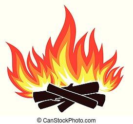 vuur, wood., symbool