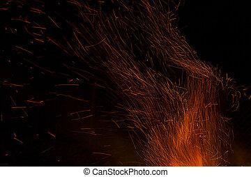 vuur, zwarte achtergrond, vlammen