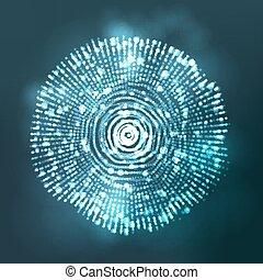 vuurpijl, abstract, illustratie, bol, gloeiend, cyber, vector., lens., equalizer.