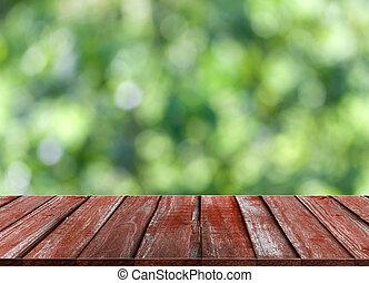vuurpijl, bovenzijde, lens, bokeh, hout, groene achtergrond, tafel