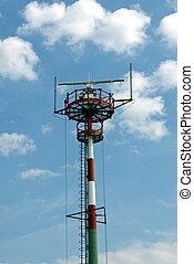 vuurtoren, antennae, radar, het seinen, nieuw, zeebaken