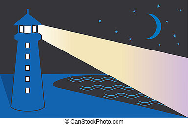 vuurtoren, kust, nacht