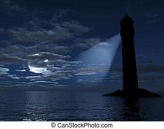 vuurtoren, op, een, eiland, verlichting, in, donker, afstand, op, een, achtergrond, een, zee, maan, en, wolken