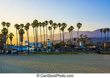 vuurtoren, palmen, landschap, promenade, santa barbara