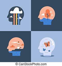 vuurtoren, psychologie, denken, positief, binnen, creatief, concept, psychiatrie, hoofd, of