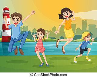 vuurtoren, springt, door, gezin, vrolijke