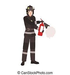 vuurvast, brandweerman, helm, karakter, vrijstaand, achtergrond., vasthouden, witte , vervelend, plat, beschermend, kleurrijke, brandweerman, vuur, uniform, spotprent, extinguisher., illustration., vector, mannelijke , redder, of